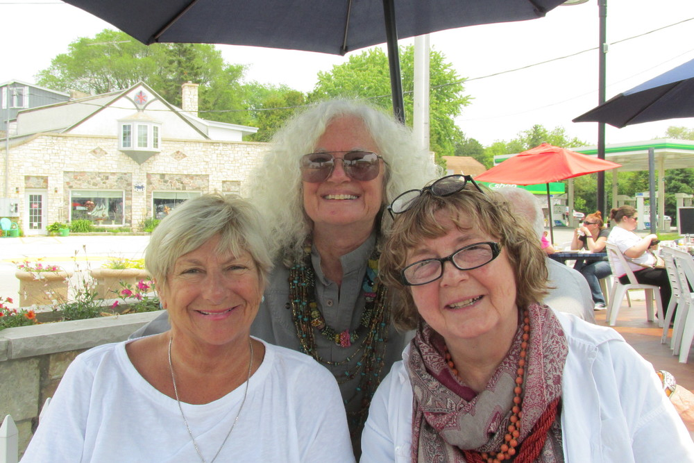 My friends of 45 plus years. Both of them came from Wisconsin to California where I met them and we got together to create a cooperative art gallery. We had many adventures in California and even though one of them returned to Wisconsin and the other moved to Kentucky we try to get together once a year after we do the Bead and Button Show.