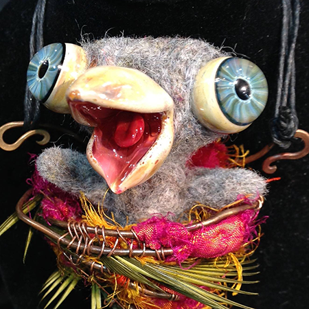 Another felted bird collaborations between Kim Van Antwerp and Wayne Robbins.