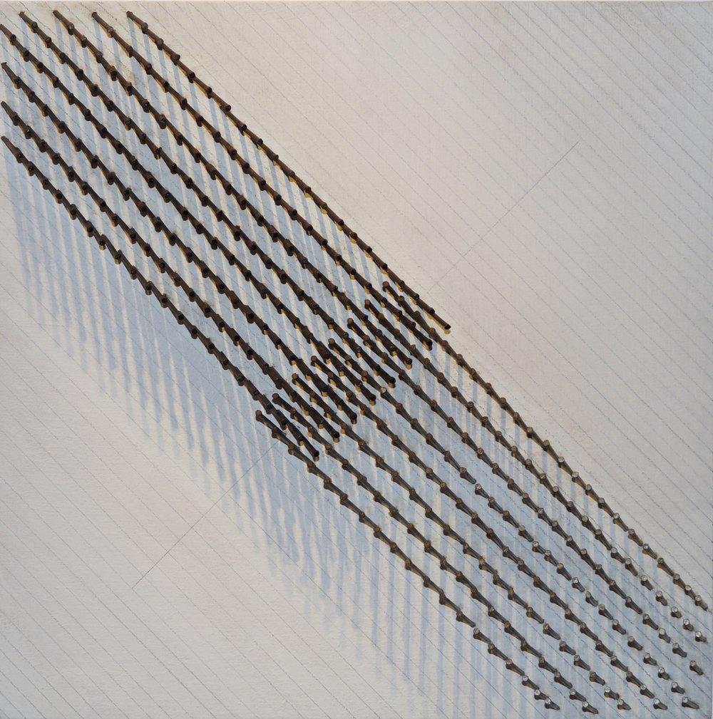 Günther Uecker Diagonale Struktur IV, 1974 Nägel und Bleistift auf Leinwand auf Holz 40 x 40 cm | 15 3/4 x 15 3/4 in GU/O 13 sold