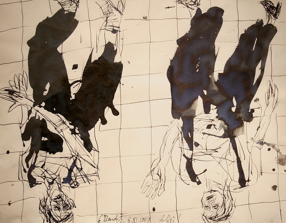 Georg Baselitz Ohne Titel (Remix), 08.XI.07 Tusche und Aquarellauf Bütten 50,8 x 66,8 cm | 20 x 26 1/3 in GB/P 5