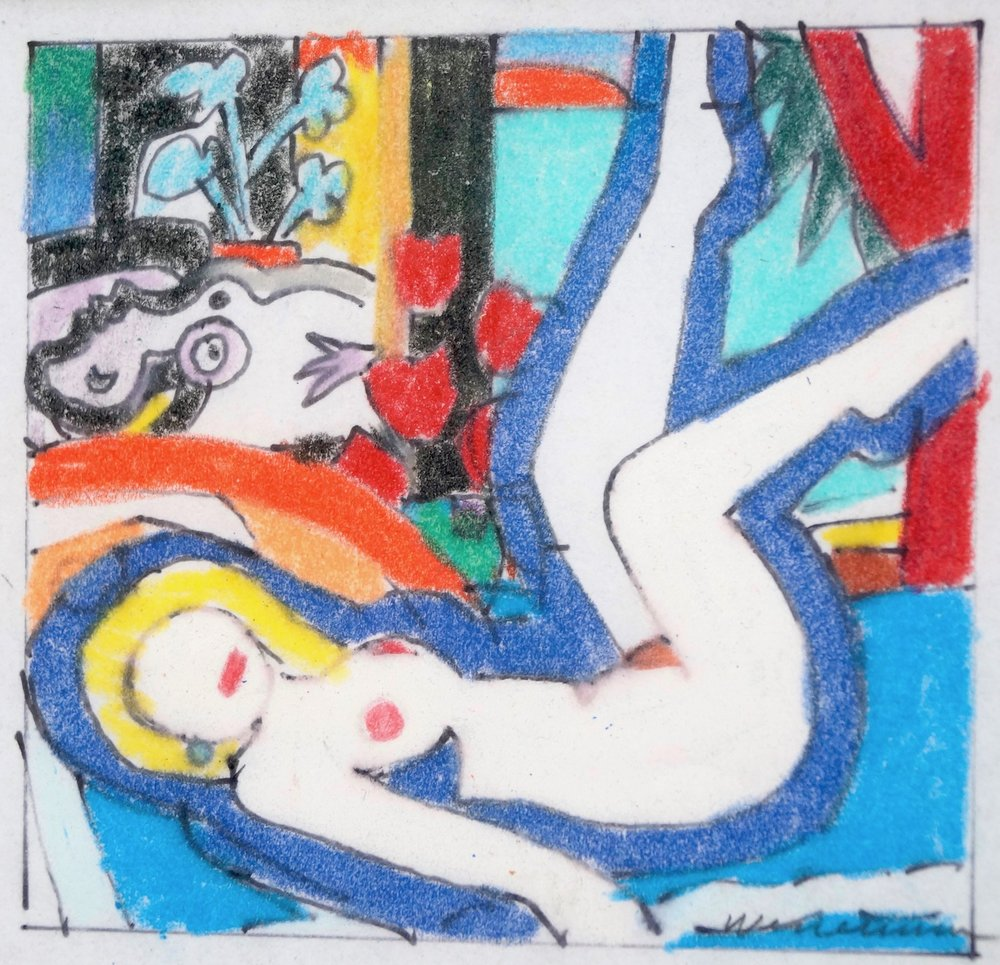 Tom Wesselmann Study for Sunset Nude with Picasso, 2003 ink and crayon on transparent paper 8 x 8,5 cm | 3 1/4 x 3 1/3 in