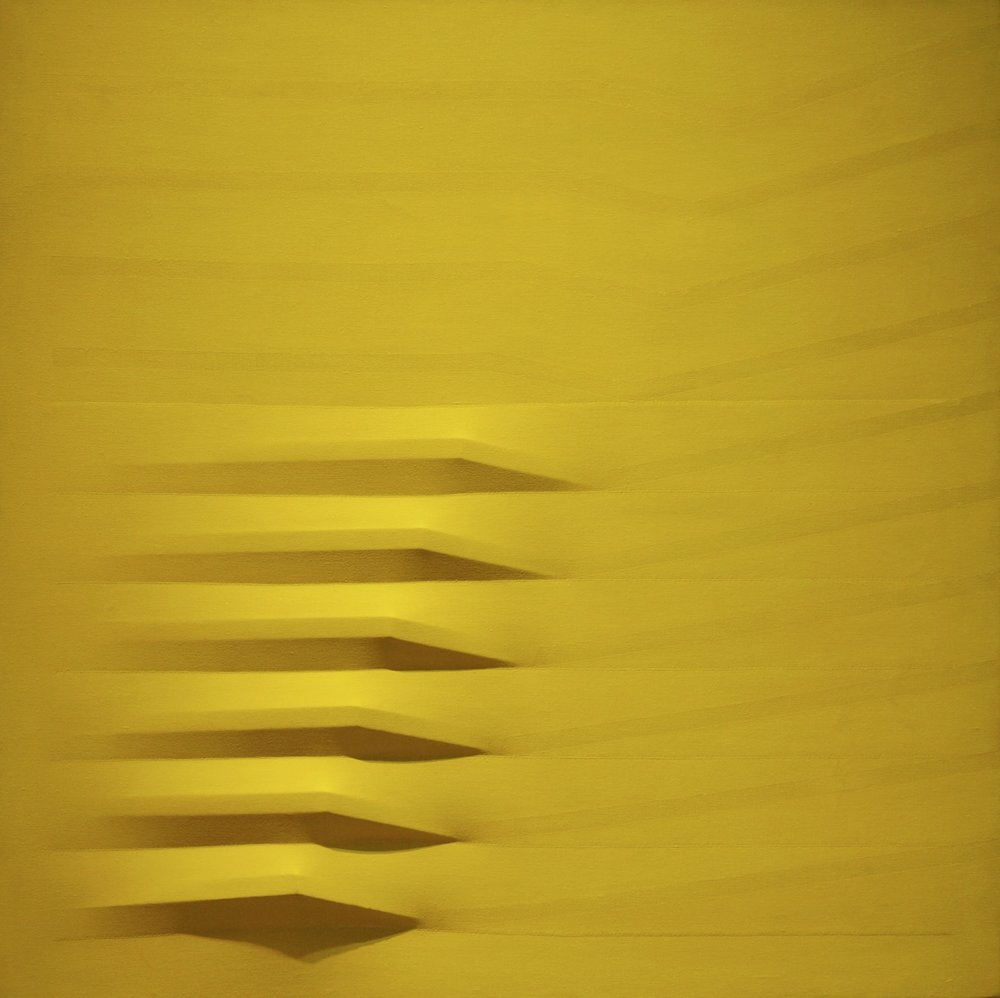 Agostino Bonalumi Giallo, 1979 acrylic on shaped canvas 80 x 80 cm | 31 1/2 x 31 1/2 in ABO/M 4