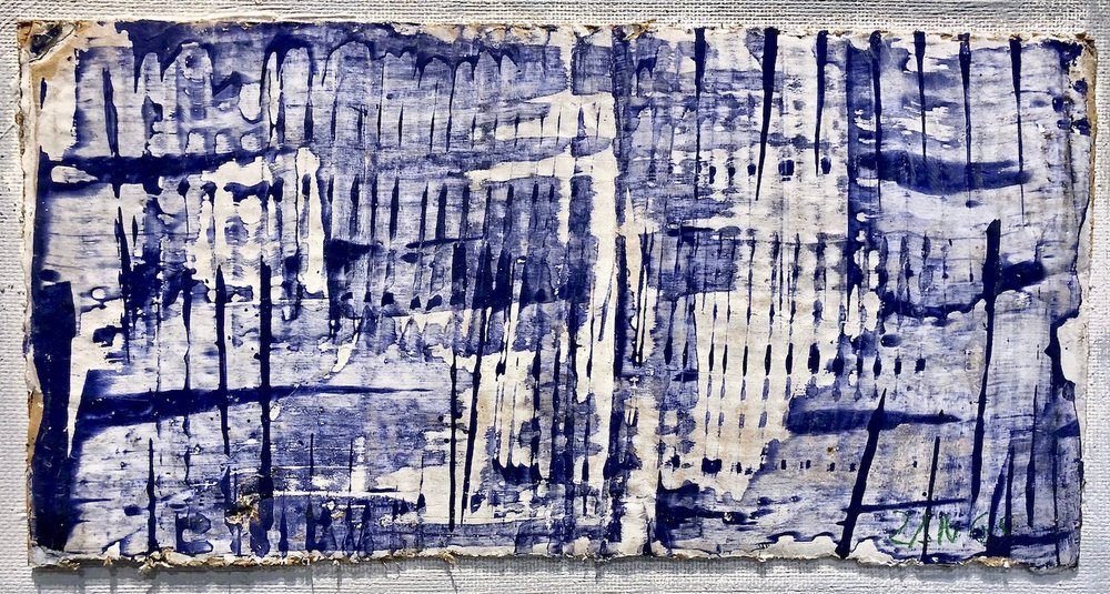 Herbert Zangs Screen Wiper, Undated (1957) Blue paint worked with a screen wiper, on white primed corrugated cardboard. 20 x 39,5 cm | 7 3/4 x 15 1/2 in HZ/M 5