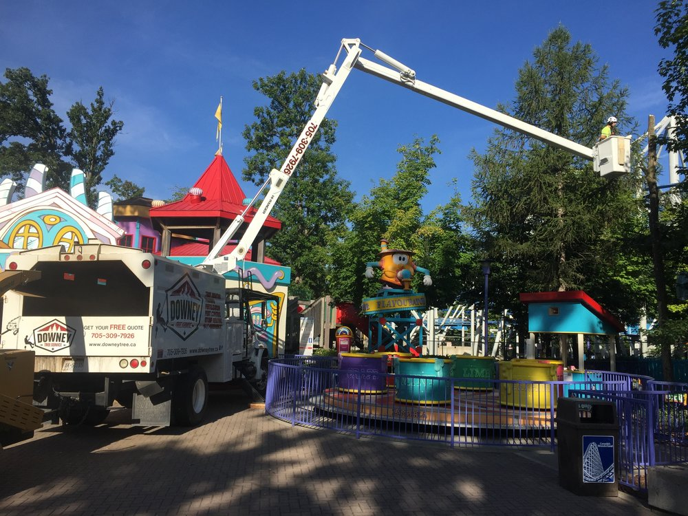 Testing the bucket trucks reach at Canada's Wonderland.