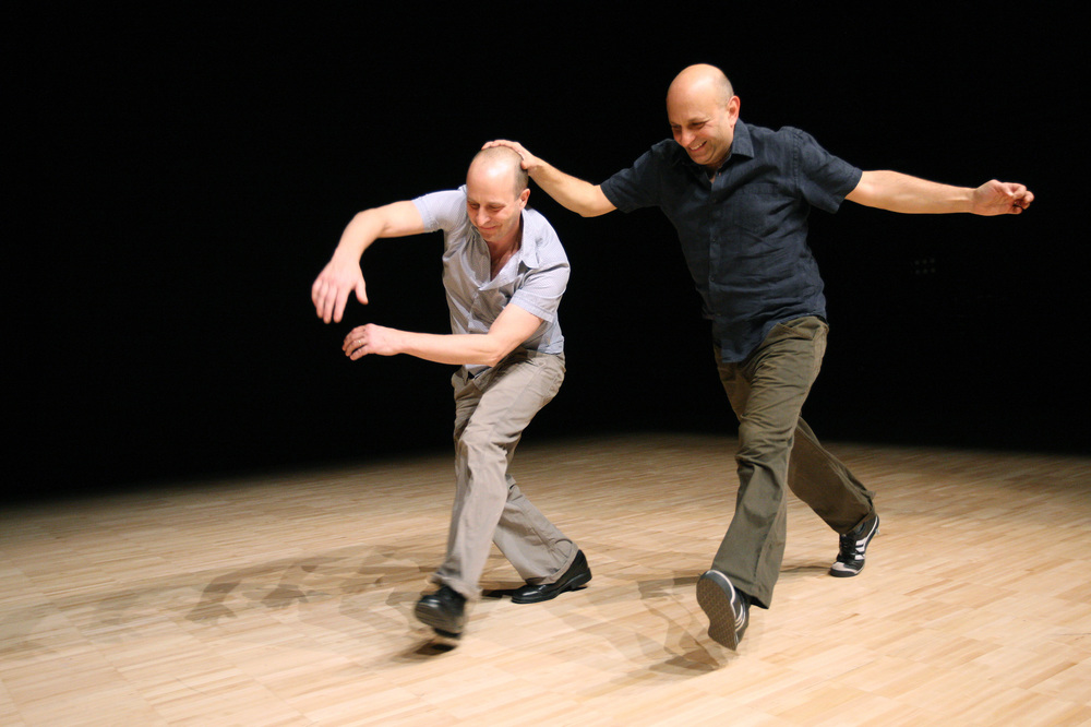 Jonathan Burrows (left) and Matteo Fargion (right).  Photo by Alastair Muir