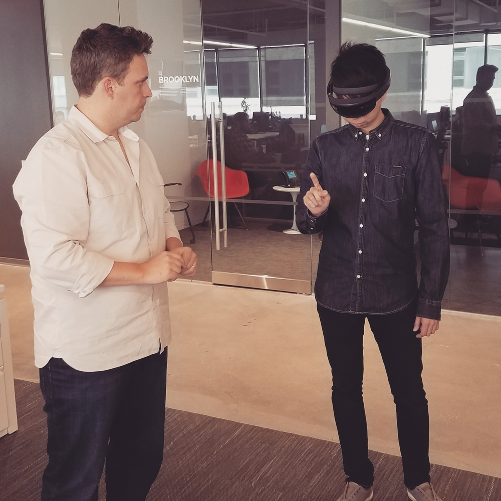 I'm getting a crash-course on the HoloLens and its interactions.
