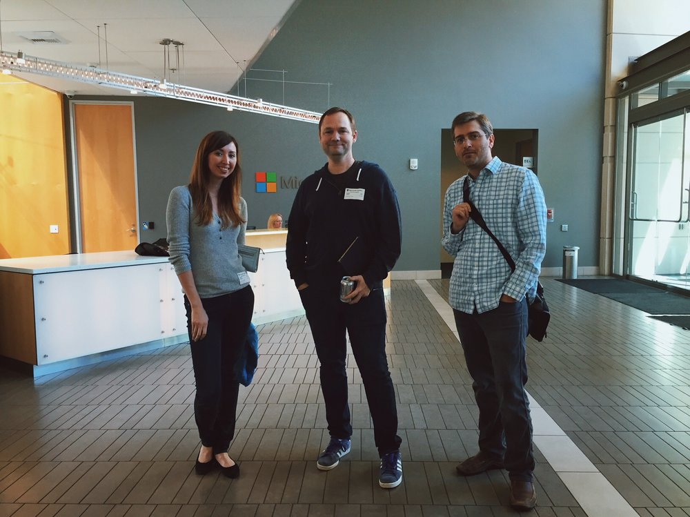 From left to right: Senior Art Director Kat McCluskey and Technology Directors Chuck Fletcher and Wells Caughey at Microsoft.