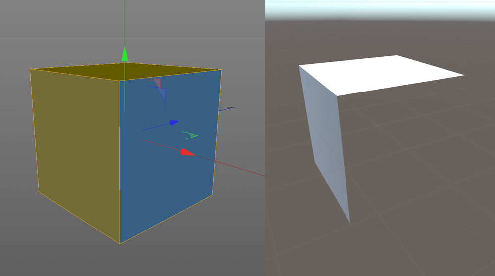 Normals affect polygon visibility in Unity.