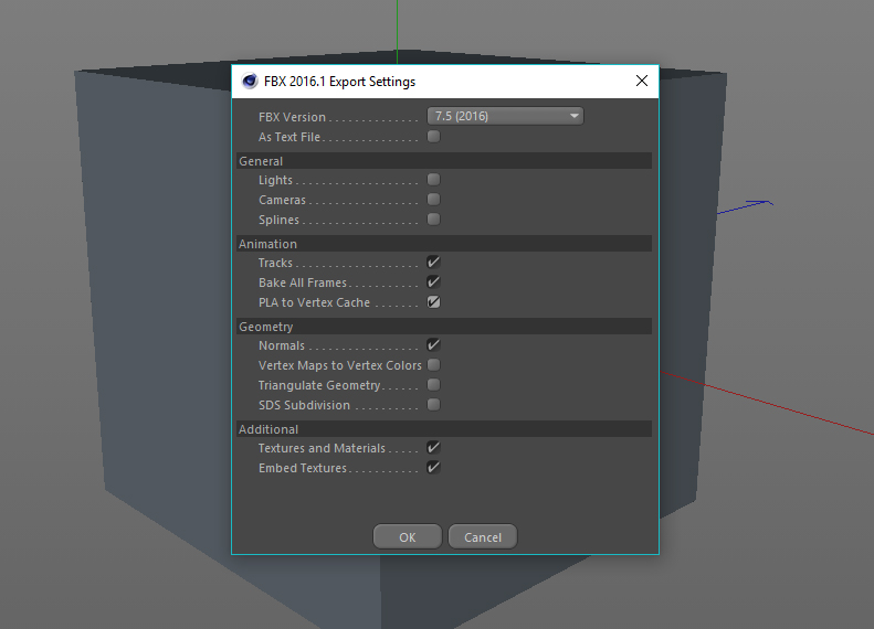 Export settings for FBX output""