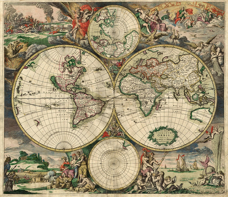 """World Map 1689"" by en:Gerard van Schagen - This image is made up of six separate images downloaded from Helmink.com and stitched together..  Licensed under Public Domain via Wikimedia Commons"