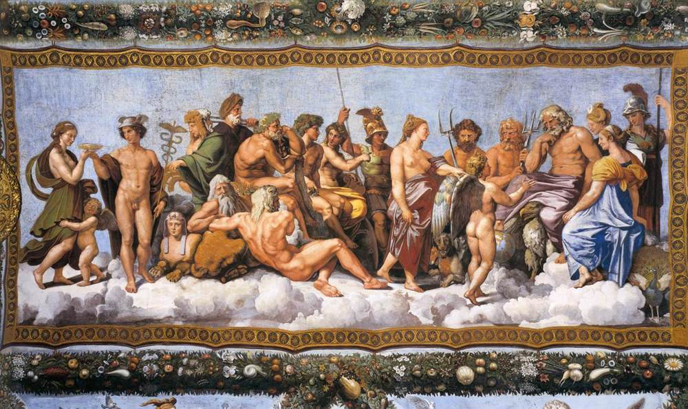 The Greek Pantheon, by Raphael. Pantheons are popular, particularly in fantasy writing.
