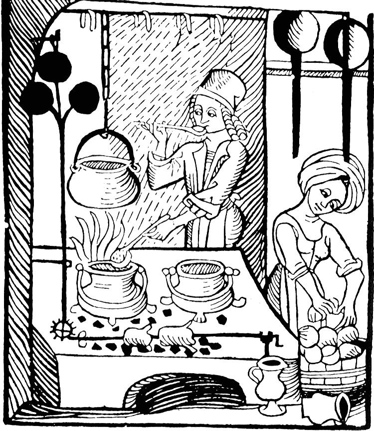 Illustration: A cook at the hearth with his trademark ladle; woodcut illustration from  Kuchenmaistrey , the first printed cookbook in German, woodcut, 1485.