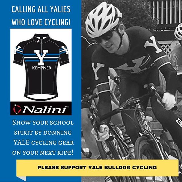 Calling all Yalie cyclists – IT'S KIT ORDER TIME! Stock up on your Yale University Bulldog Cycling gear from Nalini here: http://store.albabici.com/c/yale-u-cycling  As an added bonus, Albabici is offering a special, one-time only 40% discount on everything in their inventory (other than Yale kits). For great deals on SMP saddles, Limar helmets, Fondriest bikes, Nalini clothing, 4ZA components, Ursus Wheelsets, etc., visit http://albabici.com/ BEFORE OCT. 16 and enter the code: Bulldog40