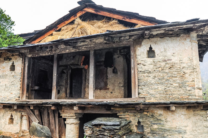 A home in a village on the road to Sangam CHatti