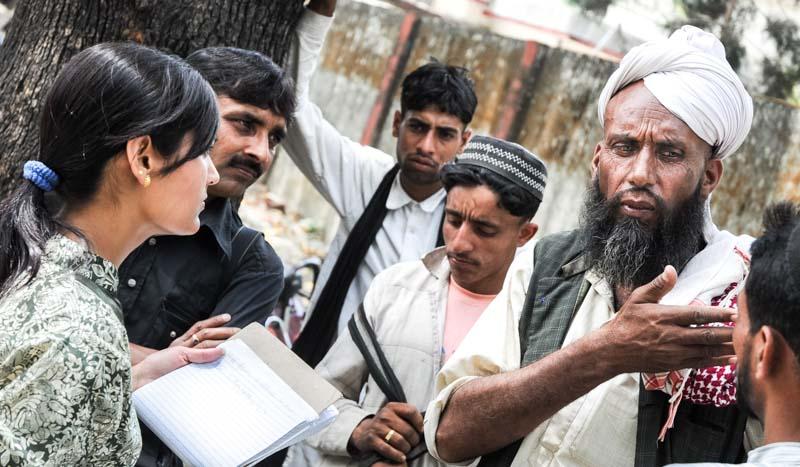 Dhumman's cousin, Alfa, explains the Van Gujjars' permit crisis to journalists at Forest Department headquarters, Dehradun