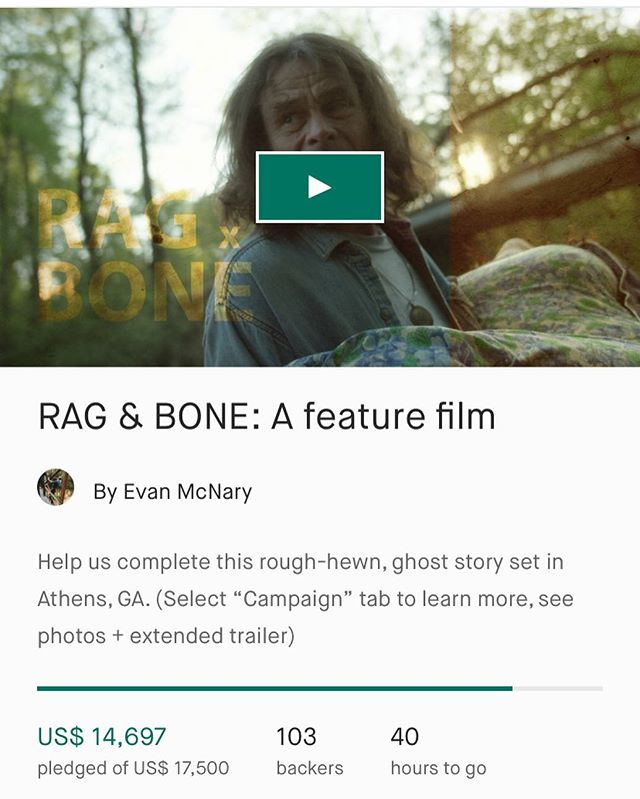 The Kickstarter for my brother's film is SO CLOSE!! Check it out ya'all!💥 . . . . . . #RagandBone #ragandbonefilms #kickstarter #kickstartercampaign