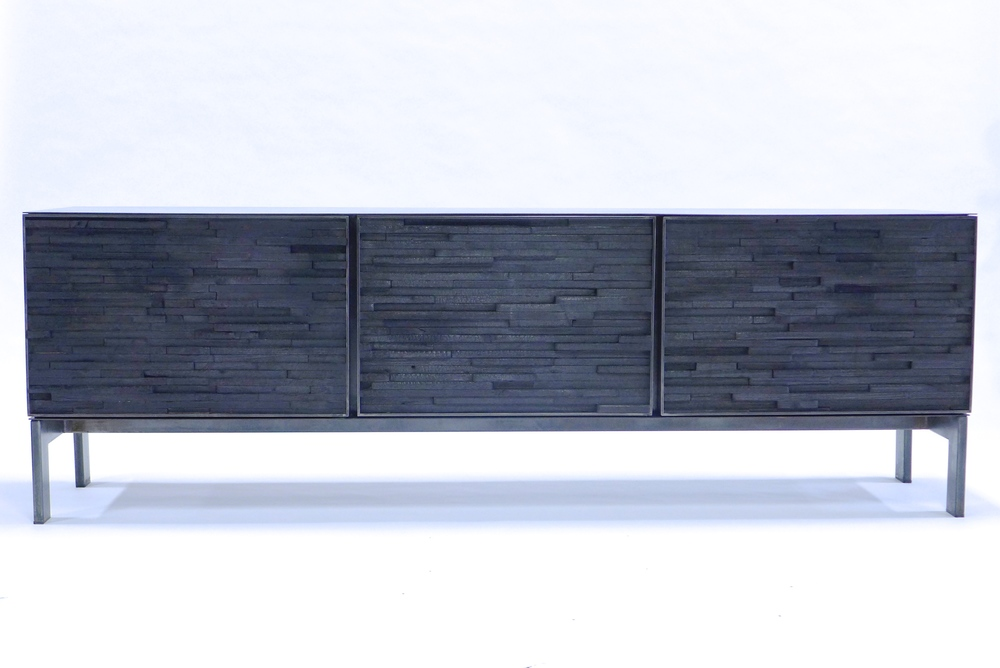 3 Section Burnt Wood Sideboard