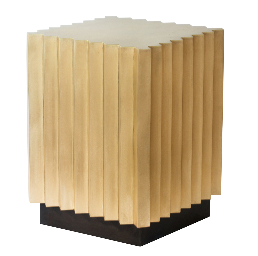 Fluted brass side table
