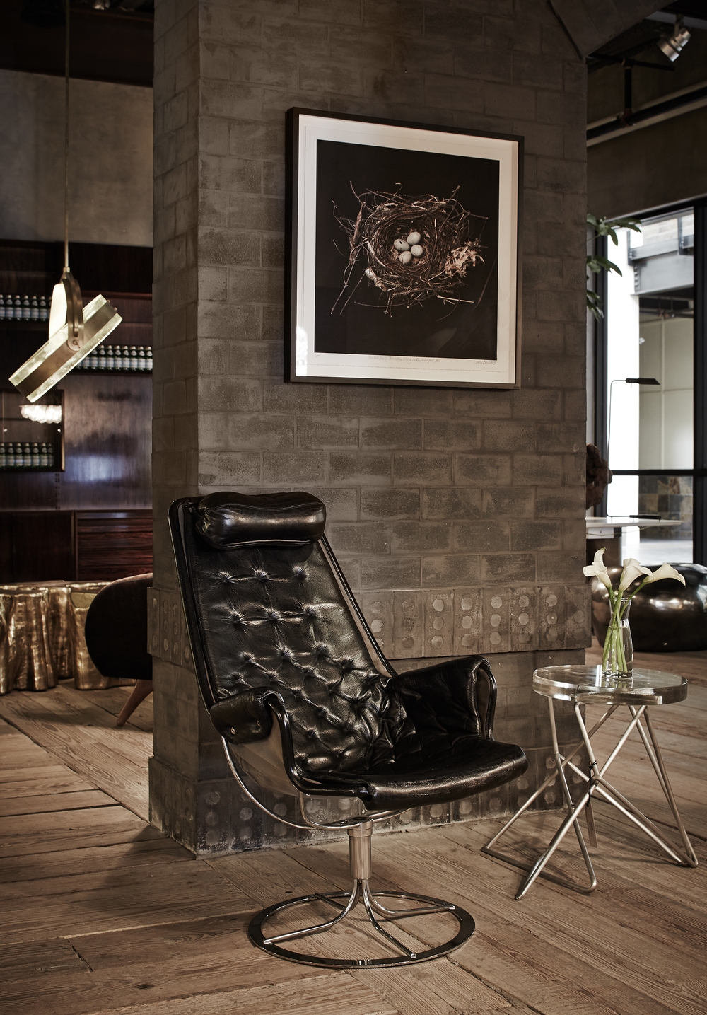 Architect side table and Halo Chandelier