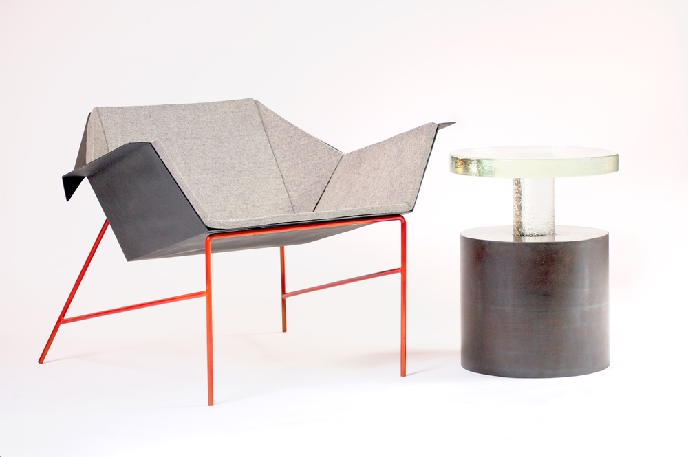 Red Shank Lounge Chair and Glass drum table