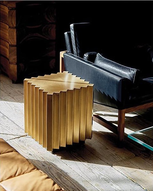 Amazing shot from @villarreality  My corrugated brass side table @coupdetatsf @jlistondesign @therhugheslifestyle