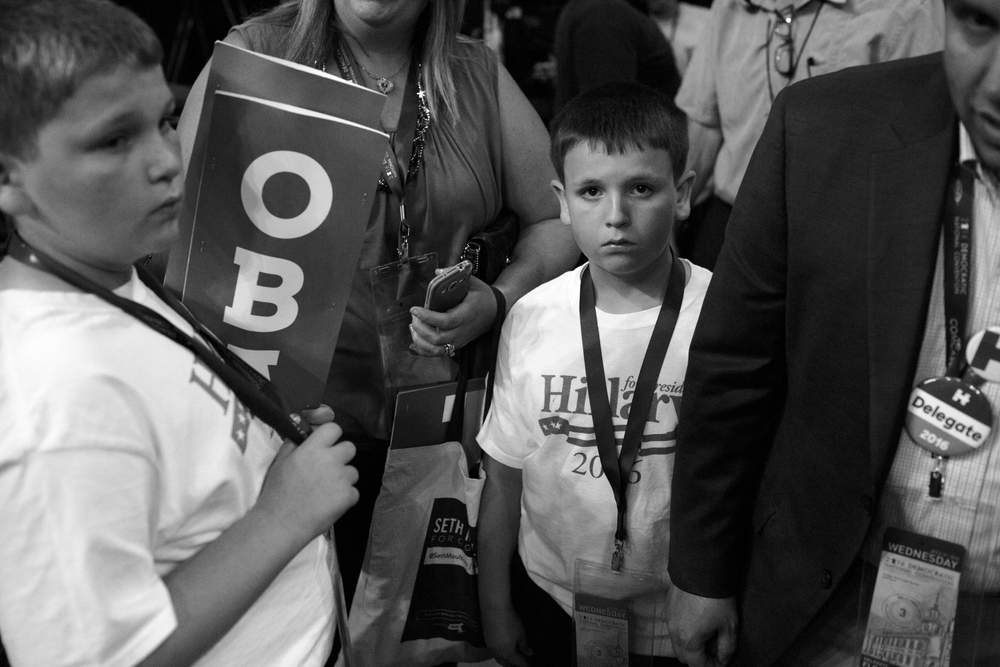 27 July 2016 - Philadelphia, PA - Hillary supporters are on the convention floor after the third day of the Democratic National Convention comes to an end. President Barack Obama and Vice President Joe Biden were addressing the delegates earlier this evening.