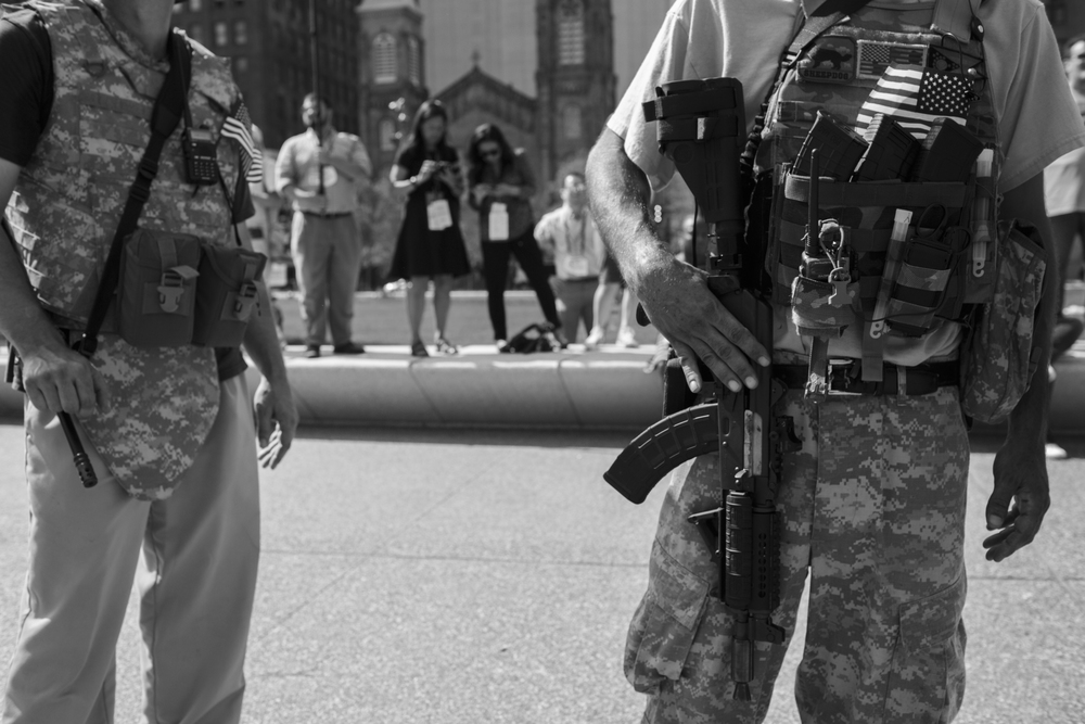 19 July 2016 - Cleveland, Ohio - Open-carry activists present their weapons on Public Square and refeer to the Second Amendment. Prior to the Republican National Convention the Cleveland Police union asked for a suspension of the open-carry law as a response to the shootings in Baton Rouge. 