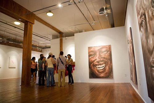 the faces series installed at Art House gallery in Atlanta (now  Art House Library  in Brooklyn)