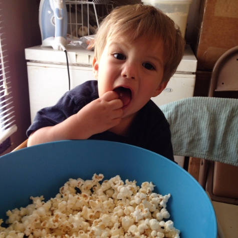 This is Daniel at 2 years old. Eating popcorn. Spoiler alert ;)