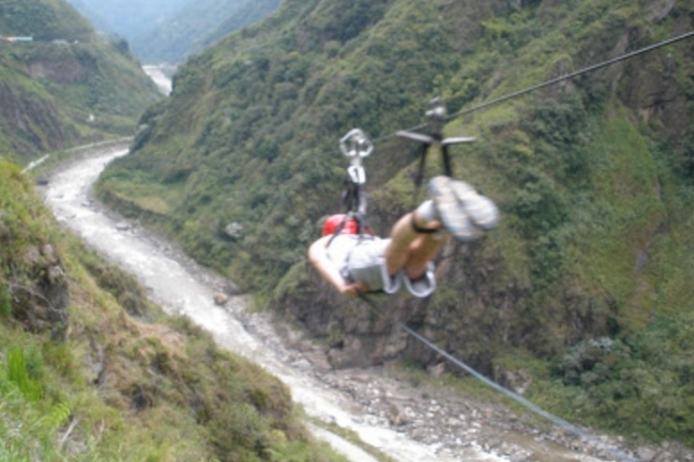 A Duke University student braves the zipline in Baños, Ecuador