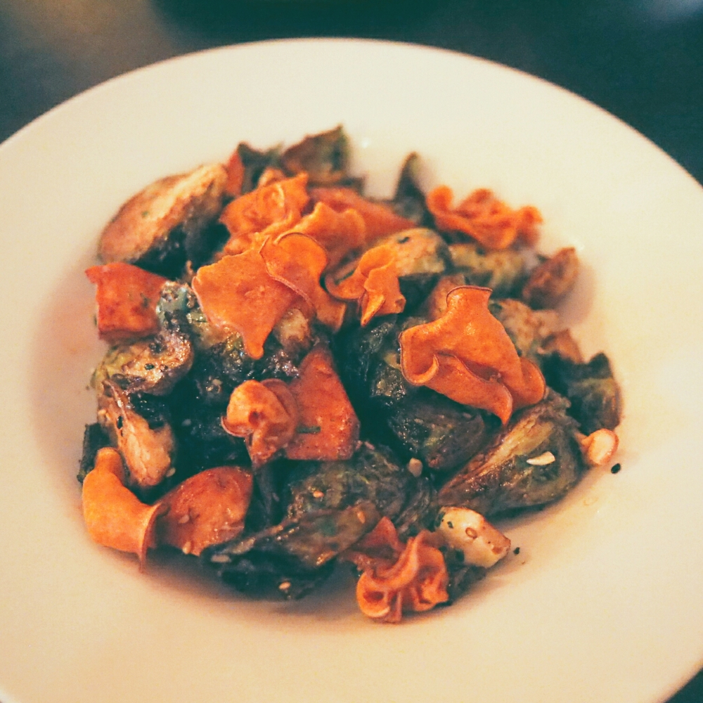 crispy brussels sprouts and sweet potato  with maple vinaigrette, cashew, nori.