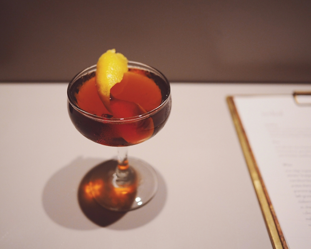 the gentleman: oloroso sherry, sweet vermouth, orange bitters.
