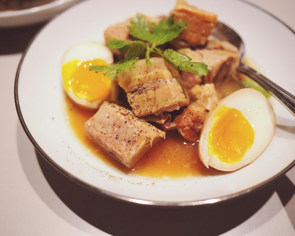 braised pork belly , coconut juice, marinated egg.
