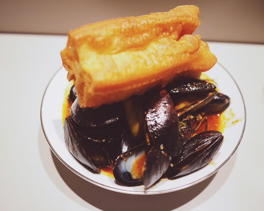 mussels  with chili jam, galangal, lemongrass, kaffir lime, chinese doughnuts.