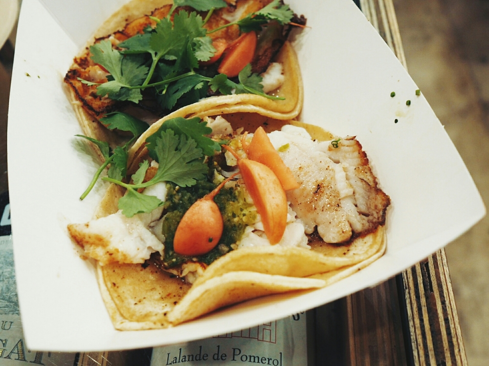 dover sole taco  with raw tomatillo chile, pickled radish and cilantro.