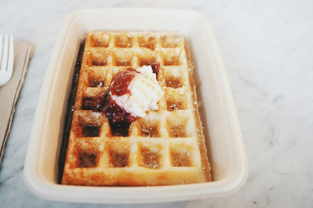 yeast waffle with ricotta, jam and honey.