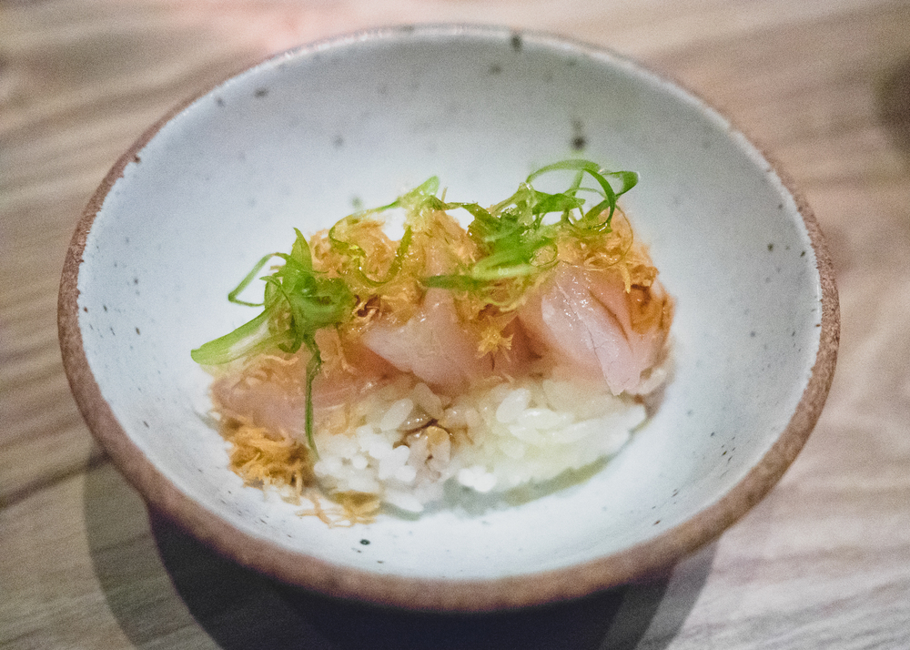 snapper with rice, ginger, smoked soy.