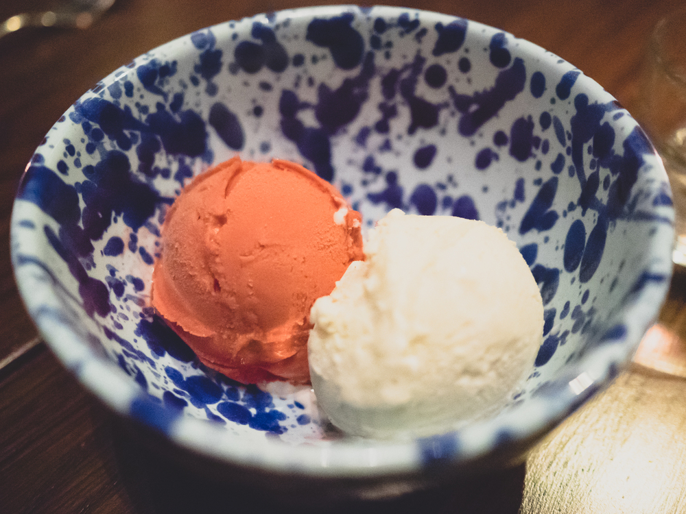 raspberry sorbet  and  vanilla ice cream .