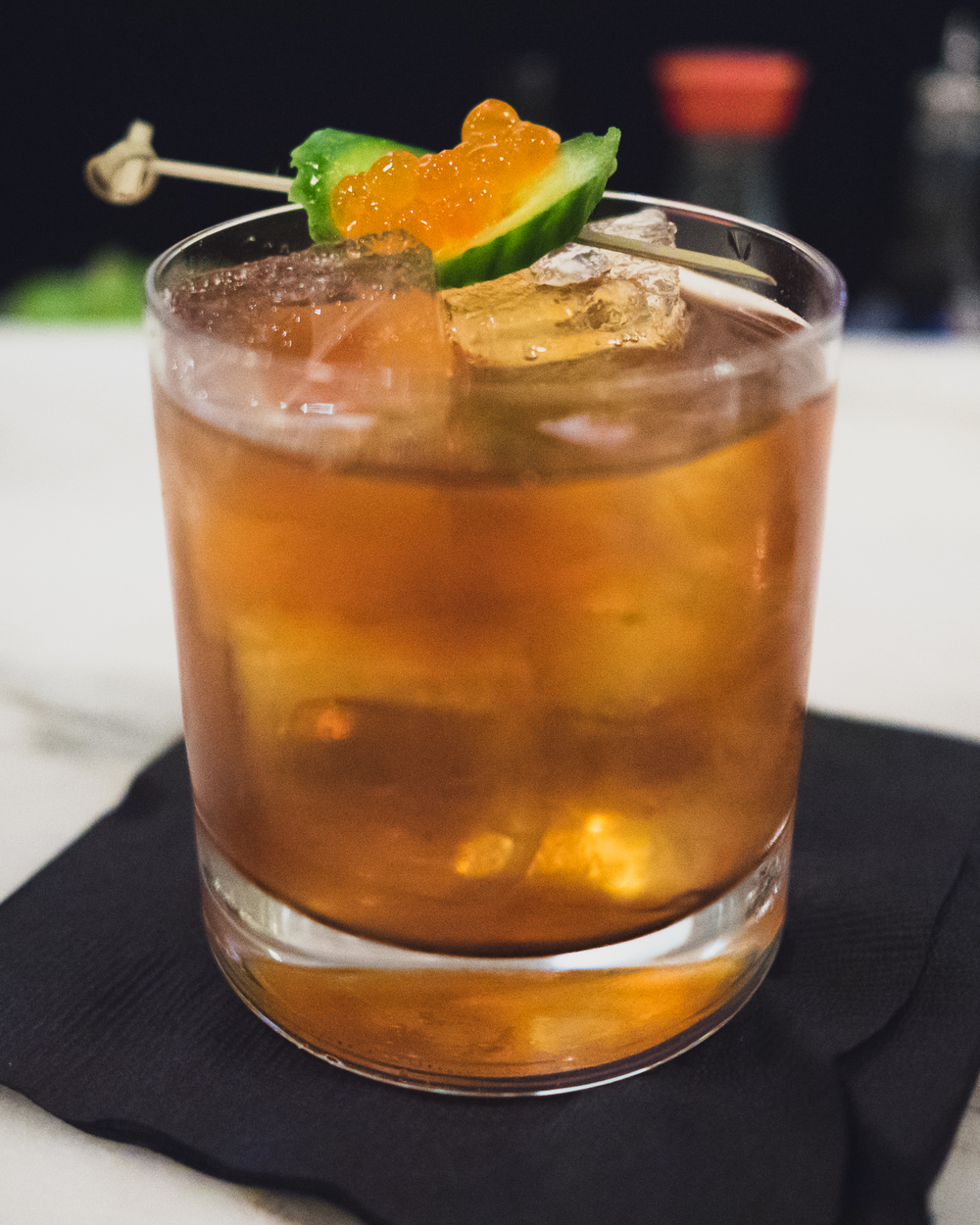 hop sea negroni : tequila, punt e mes, citra hop infused cocchi, oyster shell infused mezcal.