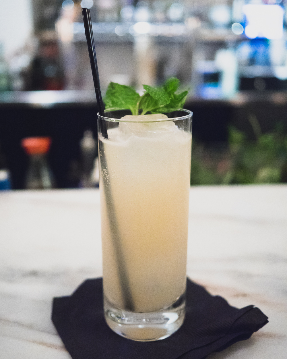 banana mule: banana infused gin, galangal/ginger/lemongrass syrup, mint, lime