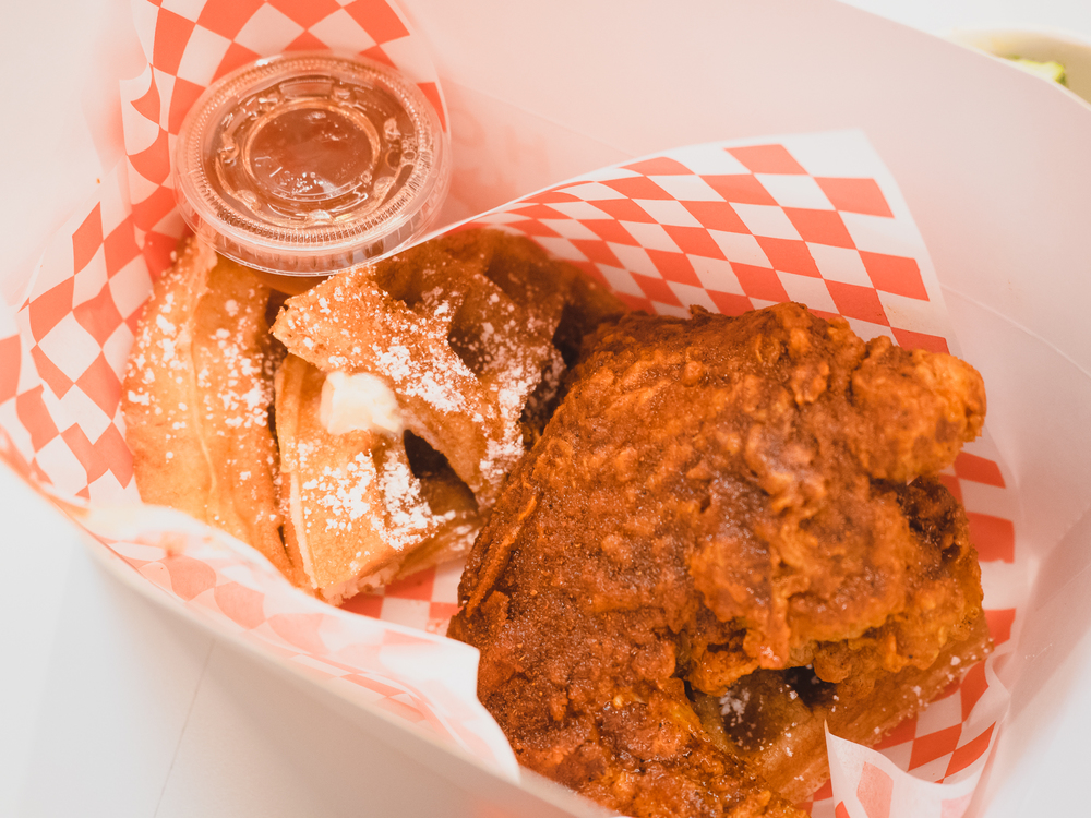 hot chicken and waffles.