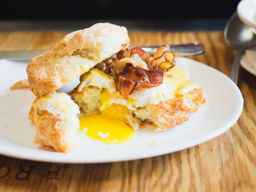 the easy biscuit sandwich  with egg and cheese and benton's bacon.