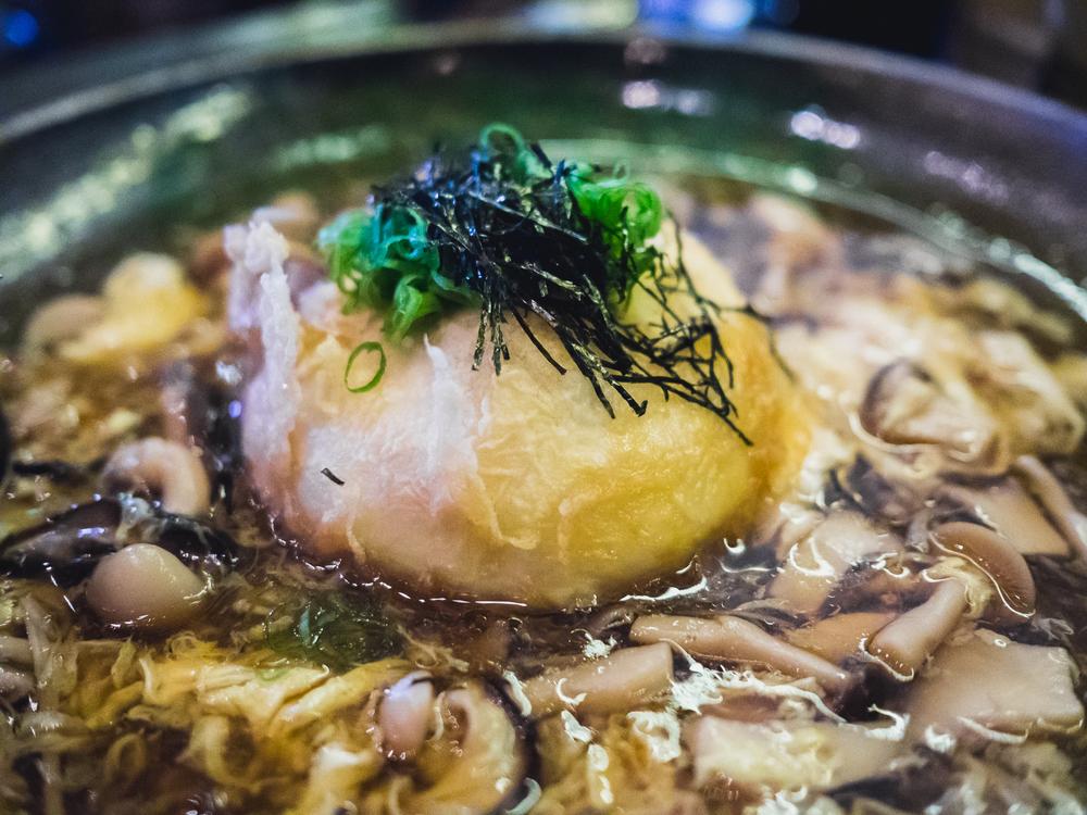 kinjiro agedashi homemade tofu, organic mushroom ankake sauce.