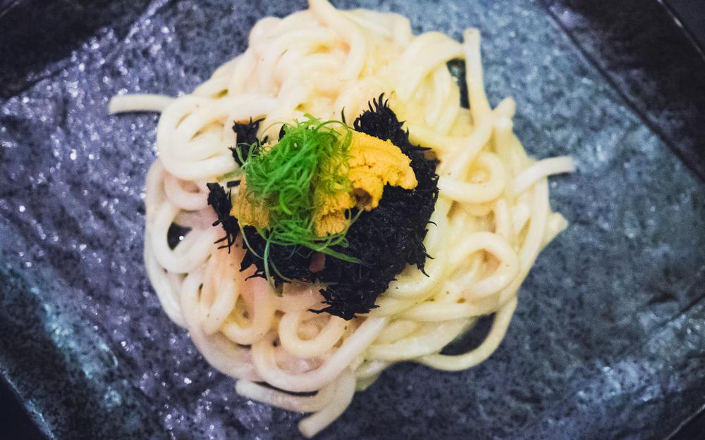 uni udon with hijiki seaweed.