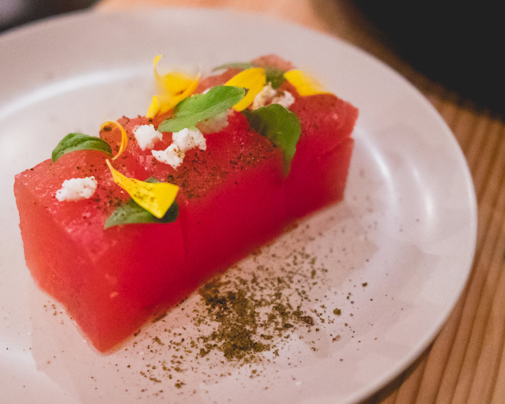 (dimsum) watermelon, lime, serrano, pure luck feta.