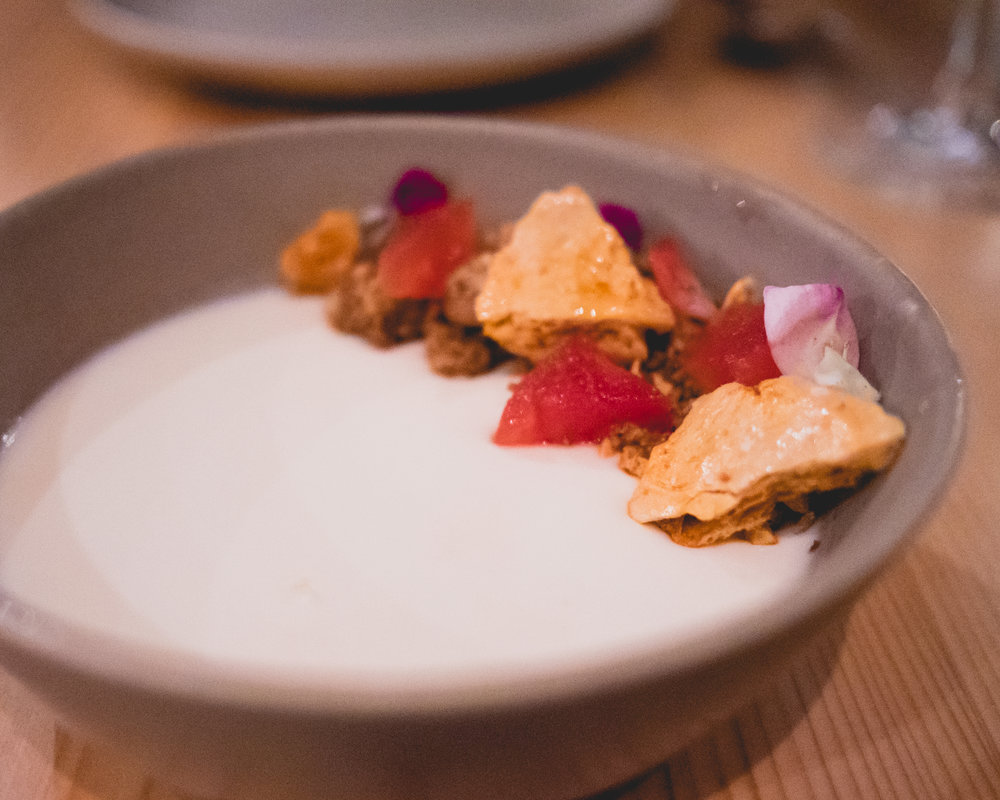 panna cotta, honeycomb, pecan granola, watermelon.