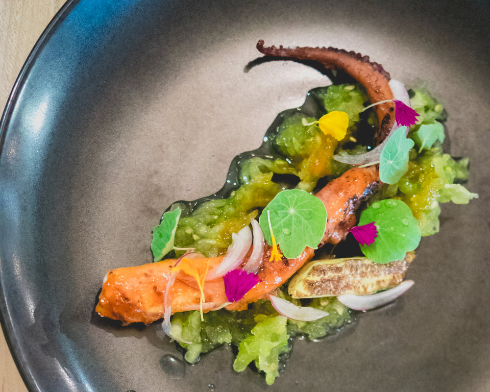 iii. spanish octopus, confit and grilled, green tomato relish, grilled cucumber, nasturtium, local flowers.