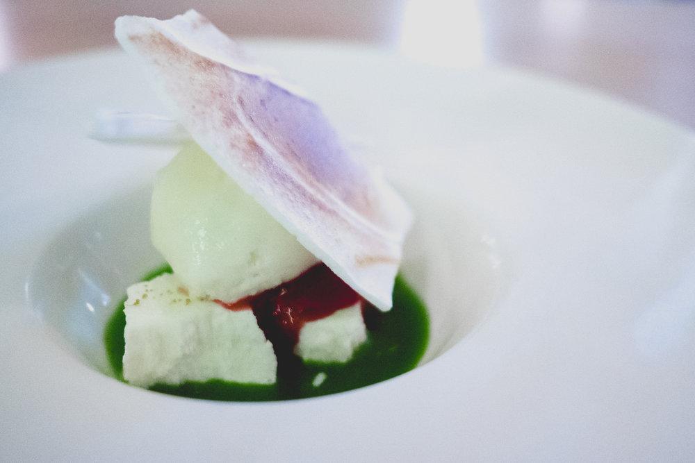 vii. solstice shiso jus, creme fraiche mousse, fennel ice cream, plum jam, meringue.
