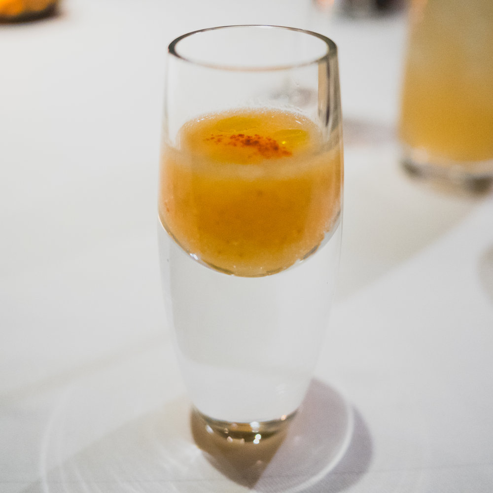 amuse: chilled ambrosia melon soup.