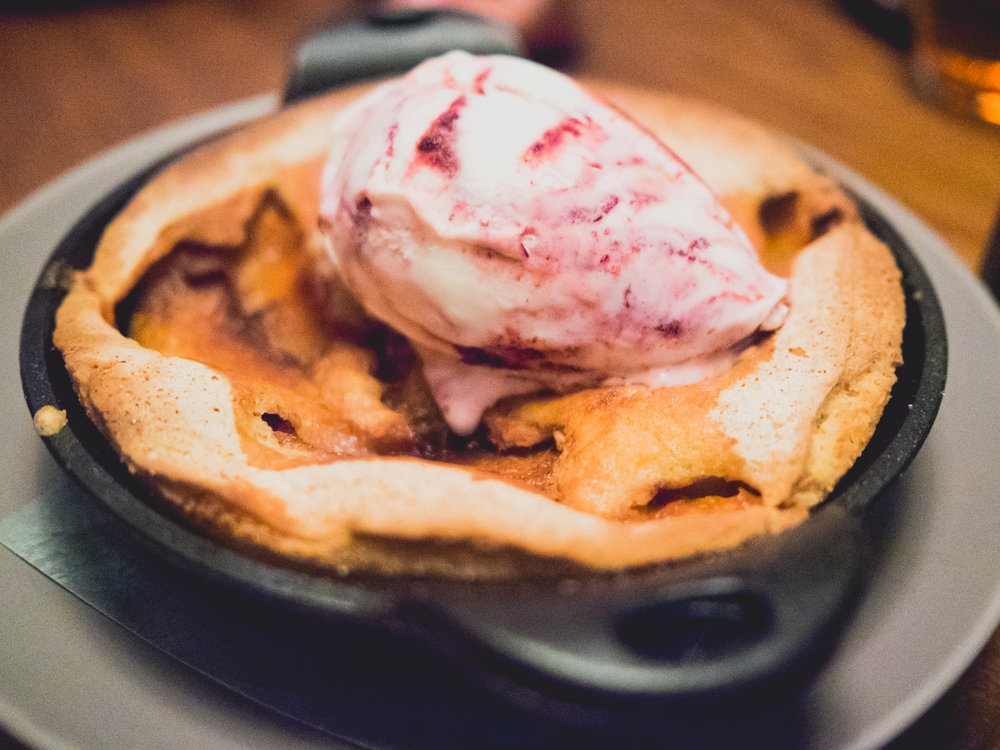 peach cobbler , mcconnell's eureka lemon and marionberry ice cream.
